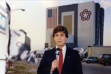 Frank Mottek reporting at 1 year anniversary of the Challenger disaster