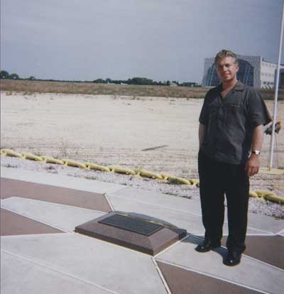 Frank Mottek at the site of the Hindenbury disaster